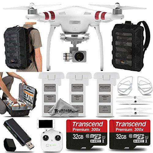 DJI Phantom 3 Standard Quadcopter with 4K Camera and 3-Axis Gimbal Saving Kit Includes 2 Extra DJI Batteries  2x 32GB Class 10 Memory Card  DJI Propeller Guard  CS400 Backpack  Card Reader