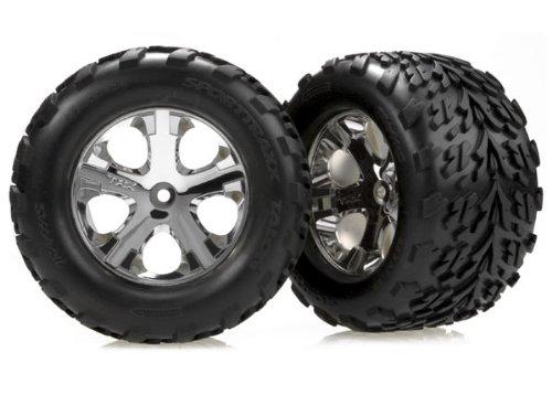 Traxxas 3668 Talon Tires Pre-Glued on 28 Chrome All Star Wheels Electric Rear pair