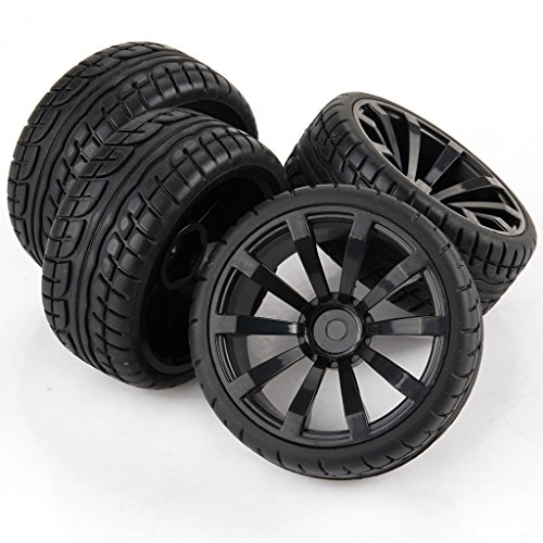 Yiguo 10-spoke Wheel Rims and Diagonal Pattern Rubber Tires for RC 110 Flat Car Set of 4