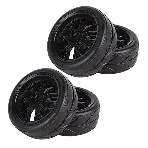 Yiguo 4pcs Y-shaped Wheels 12mm Hex Hub Arrow Pattern Tires for HSP RC 110 On-Road Flat Car Black