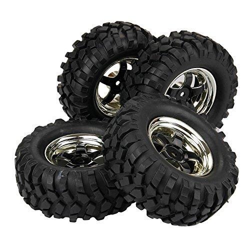 Yiguo RC 110 Rock Crawler Plating 12mm Hex 5 Spoke Wheel Rims and Gravel Pattern 96mm Rubber Tires Set of 4