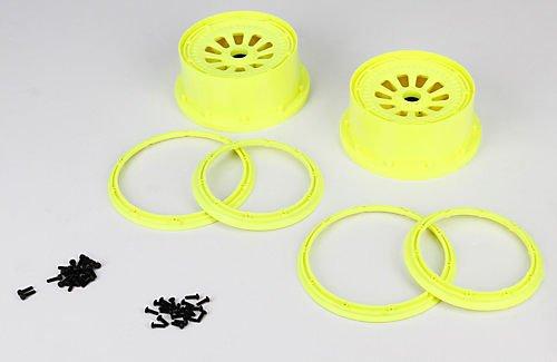 Team Losi Wheel Beadlock Set Flo Yellow 2 5T