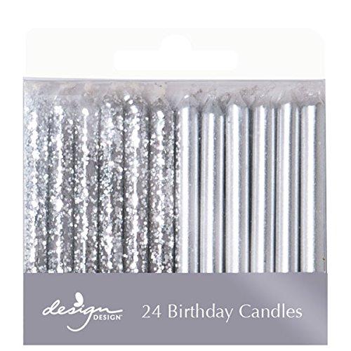 Design Design Metallic Birthday Candles Silver