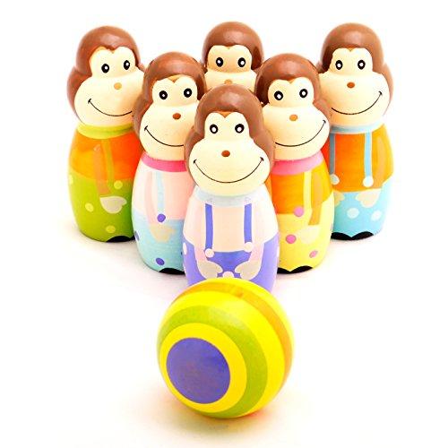 Wooden Monkey Bowling Friends Set