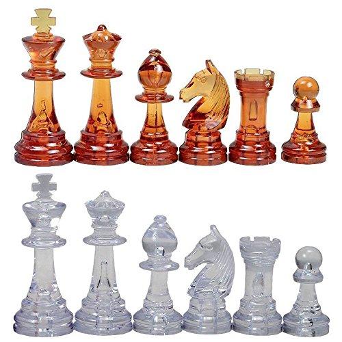 SunRise 3 34 Amber Clear German Staunton Plastic Chess Pieces