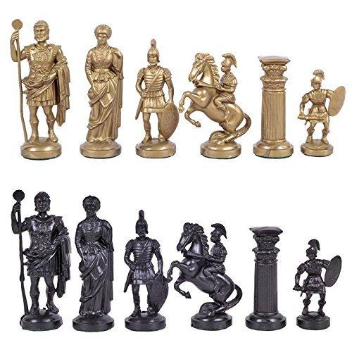SunRise 3 34 Black Gold Roman Legion Plastic Chess Pieces