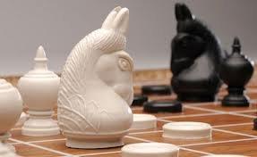 Thai Chess Makruk Plastic with Traditional White and Black 1 Box