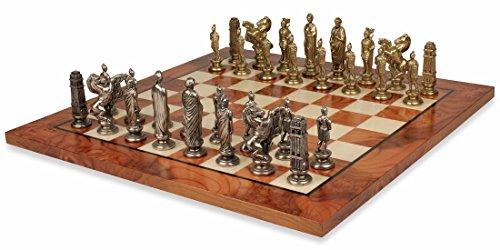 Caesar Brass Chess Set Elm Burl Chess Board Package