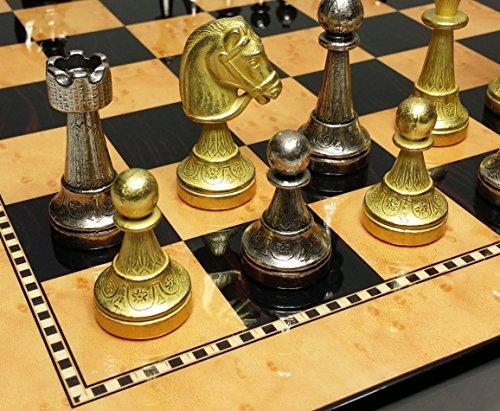 ITALFAMA Real Brass Classic Staunton Chess Set W 15 High Gloss Dark Walnut Birdseye Maple Color Board