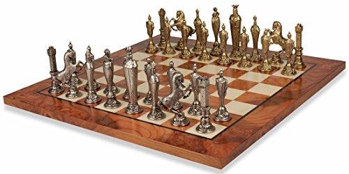 Renaissance Brass Chess Set Elm Burl Chess Board Package