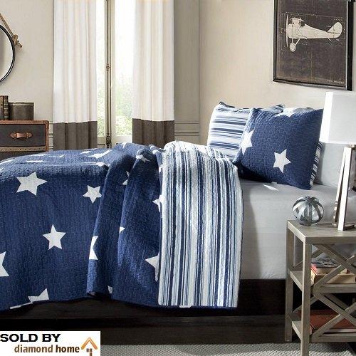 Full  Queen Size Bedding Quilt Set in Star Print Design For Teen Boys Bedroom