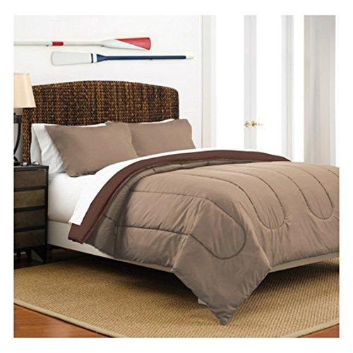 Full  Queen Size Warm Cozy Comforter Set of 3 in Reversible Khaki  Chocolate Solid Colors - Best for Teens Boys Bedroom