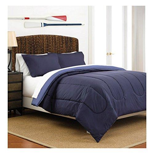 Full  Queen Size Warm Cozy Comforter Set of 3 in Reversible Navy  Ceil Blue Solid Colors - Best for Teens Boys Bedroom