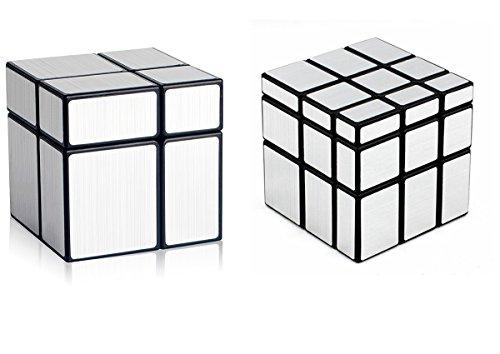 D-FantiX Shengshou Cube Mirror 2x2 3x3 Unequal Cube Mirror Blocks Puzzle Games Toys Christmas Gifts for Kids Bundle Set of 2  Silver