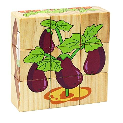 Remeehi Educational Preschool Toys Wooden Cube Block Jigsaw Puzzles Vegetables