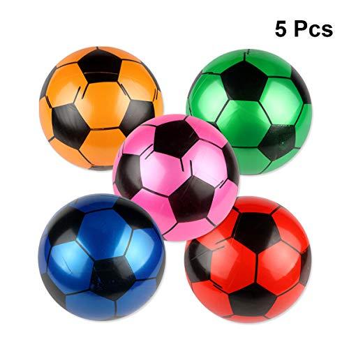 Amosfun 5 Pcs Inflatable Soccer Balls Football Balloons Sports Balls Party Favors Soccer Ball Toys for Kids 9 Inch Random Color