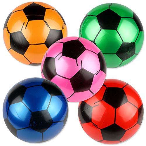 BESTOYARD 5Pcs Inflatable Soccer Balls Kids Football Toys Birthday Party Favors 9 Inch Random Color