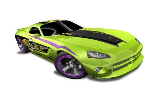Hot Wheels - 06 Dodge Viper SRT10 Green wBlack Yellow Stripe - HW Code Cars 12 - 822 ~ 233247 Scale 164
