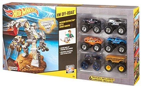 Hot Wheels 6 Pack Monster Jam Off-Road Maximum Destruction Battle Vehicle Gift Pack Car Toys