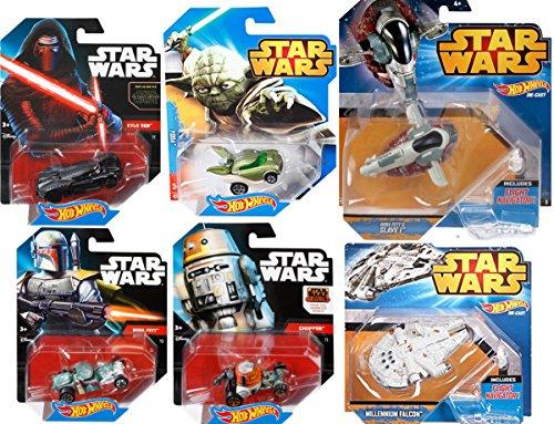 Ships Cars Star Wars Kilo Ren Millennium Falcon Ship Chopper Bobba Fett Slave Ship Yoda Hot Wheels 6 Space Set