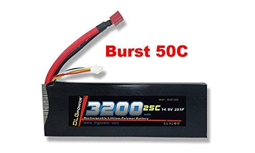 DLG 25C Burst 50C 4S 3200mAh 148V LiPO Li-Po High-Discharge Rate Powerful Battery with Deans T Plug