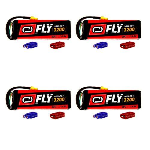 Venom Fly 30C 4S 3200mAh 148V LiPo Battery with  UNI 20 Plug XT60DeansEC3 x4 Packs Compare to E-flite EFLB32004S30