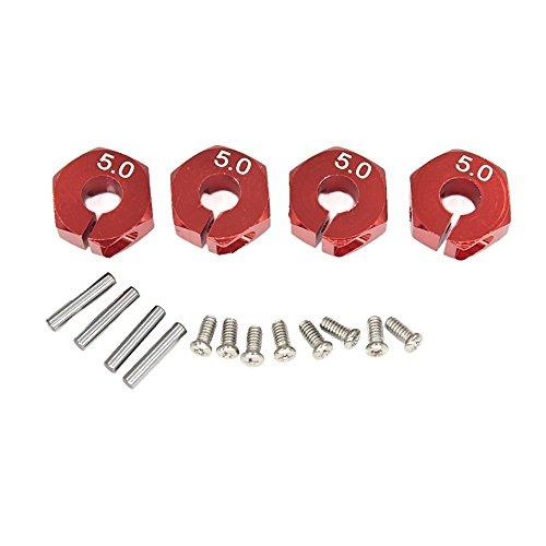 KingModel-CA RC Red Aluminum 50 Wheel Hex Drive With Pins Screws for HSP HPI Tamiya Car 4 Pcs