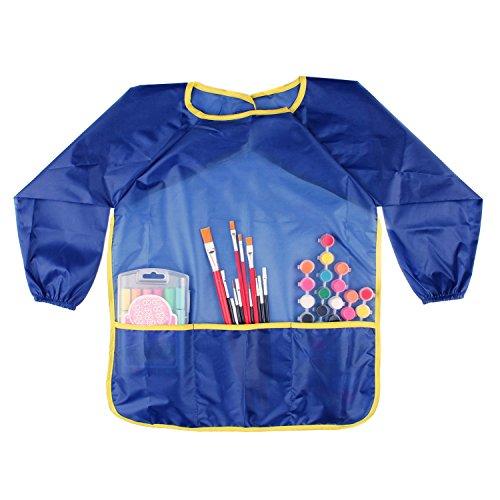 Bilipala Painting Supplies Waterproof Long Sleeves Kids Art Smock Childrens Smock Bib Apron With 3 Roomy Pockets Blue
