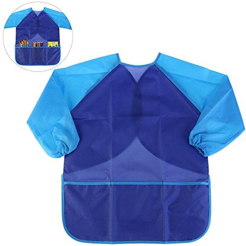NUOLUX Painting Apron Kids Waterproof Long-sleeved Art Smock Toddler Blue