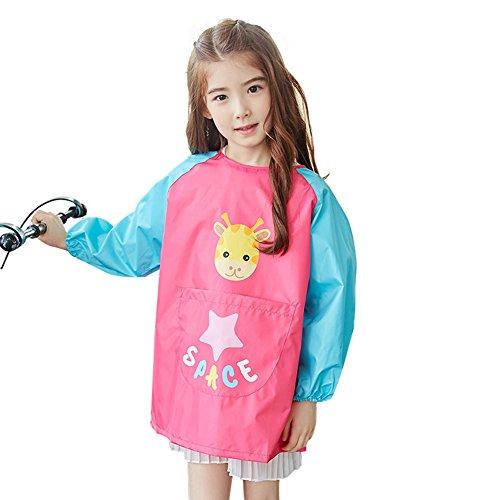 OLizee Long Sleeve Waterproof Art Smock with Front Pocket Cartoon Giraffe Kids Painting Apron Bib for Eating Rose M