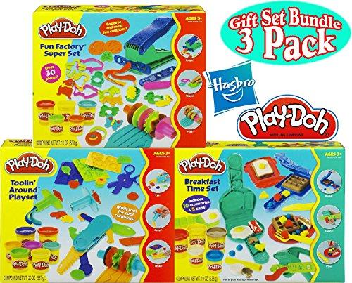 Playskool Play-Doh Fun Factory Super Set 19oz Toolin Around Playset 20oz Breakfast Time Set 19oz Deluxe Gift Set Bundle - 3 Pack