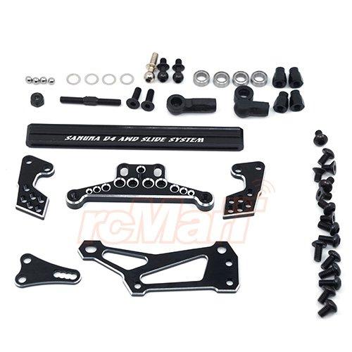 3Racing Sakura D4 AWD Aluminum Slide Steering System Black SAK-D4845BK