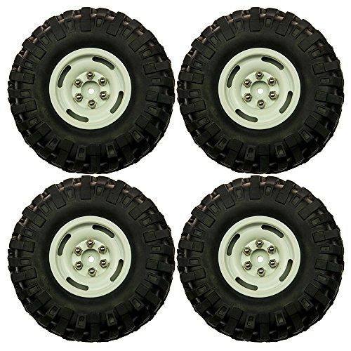 RC-Hub 4Pcs Heavy Duty Beadlock 19 Wheel Rims 108mm Rubber Tires For 110 Scale RC Crawler Car