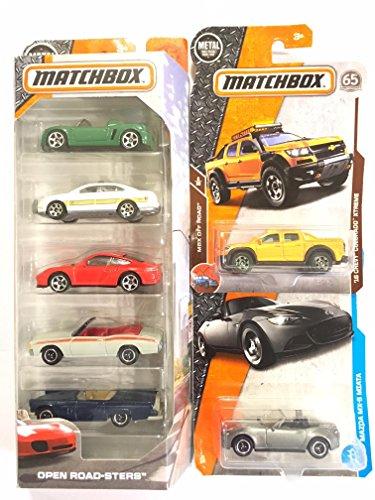 Matchbox 5 pack  OPEN ROAD CRUISERS BONUS MATCHBOX 16 CHEVY COLORADO XTREME ORANGE Matchbox 2017 Mazda Miata MX-5