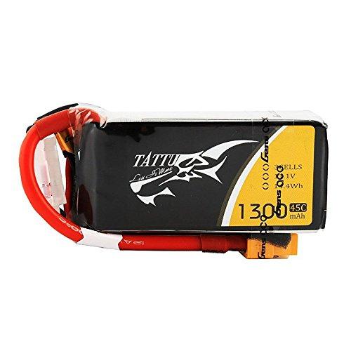 Tattu LiPo Battery Pack 1300mAh 45C 3S 111V with XT60 Plug for RC Car Boat Truck Heli Airplane