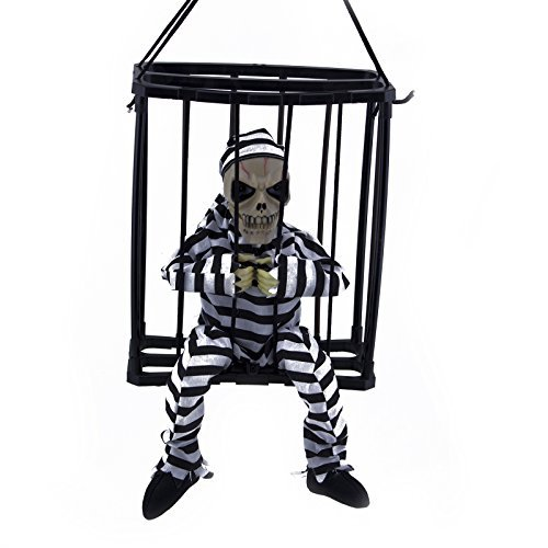Adorox Motion Sensor Hanging Caged Animated Jail Prisoner Skeleton Halloween Terror Decoration Flashing Light up Prop Toy