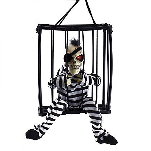 Adorox Motion Sensor Hanging Caged Animated Mohawk Eye Patch Jail Prisoner Skeleton Halloween Terror Decoration Flashing Light up Prop Toy