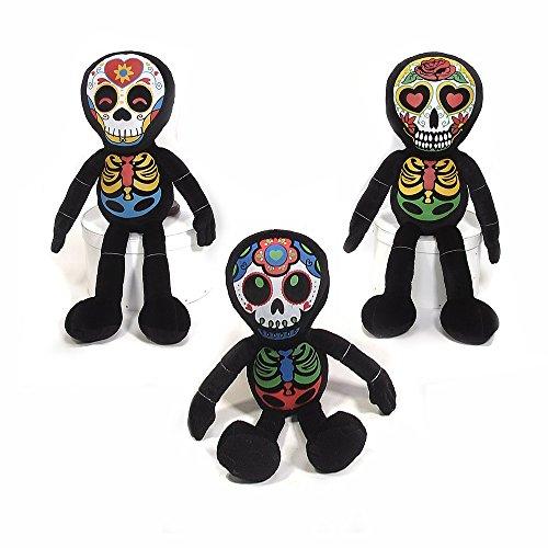 Halloween Dia De Los Muertos Plush Skeleton Toy - 3 Pack 16 x 4 x 5