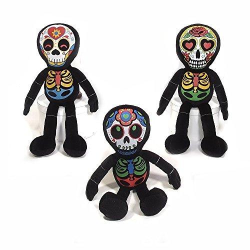Halloween Dia De Los Muertos Plush Skeleton Toy - 3 Pack 16 x 4 x 5 by Fiesta Toys