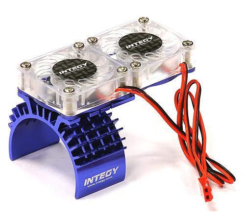 Integy RC Model Hop-ups T8534BLUE Motor Heatsink  Twin Cooling Fan for Traxxas 110 Slash 4X4 6808