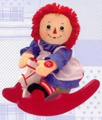 Raggedy Ann Musical Rocker Doll  Rocking Horse by Russ Berrie - plays Rock-a-bye Baby