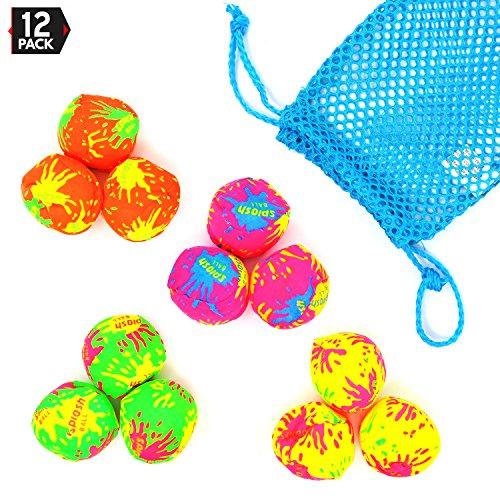 Big Mos Toys Splash Balls - Neon Drawstring Mesh Bag and Cool Water Balls for Pool - 12 Pack Set