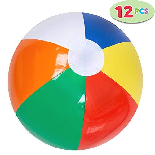 JOYIN 12 Rainbow Beach Balls 12 Pack Inflatable 12pcs Beach Pool Party Toys