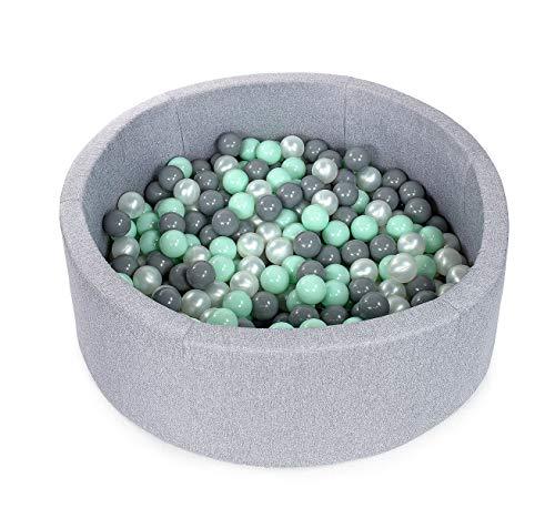 Tweepsy Soft Baby Round Ball Pool Pit 250 Balls 90x30cm Handmade EU - BKOZN3N - Light Grey Pool Pearl Grey Mint