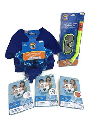 Little Boys Summer Swimming Pool Bundle 5 Items- Blue Float Suit Snorkel Mask Set Plus A Baseball Basketball Soccer Ball Beach Ball