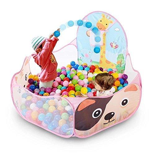 Portable Foldable Cute Polka Dot Hexagon Kids Play Balls Pit Pool tent with Basketball Hoop Pink