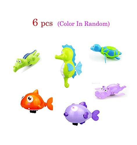 6 pcs Windup Swimming Shower Toy Clockwork Bath Toy Sea Animals Fun Water Toy Sets Random Color