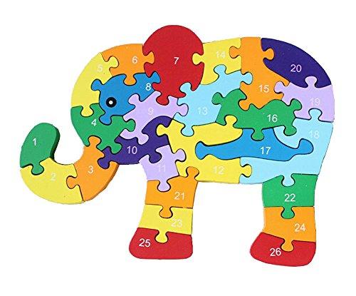 Funny Digital Letter Wooden Blocks Puzzles Educational Puzzle Elephant