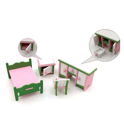 Taiguang 4Pcs Miniature Kids Child Wooden Block DIY Puzzle Kitchen Play House Toys Set