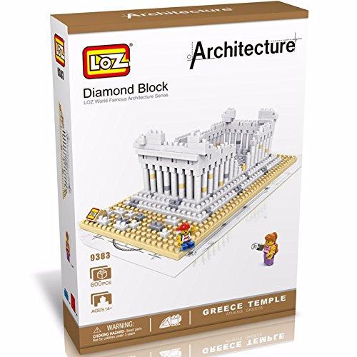 LOZ creative Diamond particles assembled building blocks of the world famous Greek temple 9383